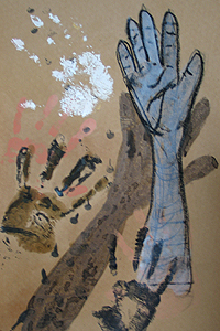 Hands - Mixed Media On Paper